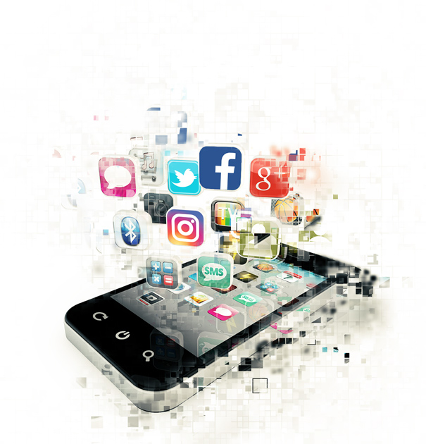 Pixelated image of a smartphone with Social Media Marketing icons emerging from the screen.