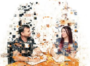Pixelated image of Arron and Tracey from the Mint team.