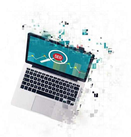 Laptop displaying Search Engine Optimisation icon