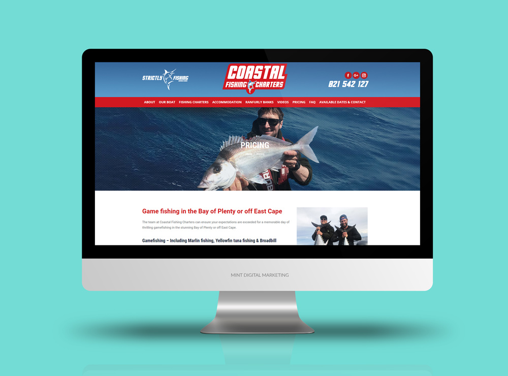 Coastal Fishing Charters - Website Design and Development