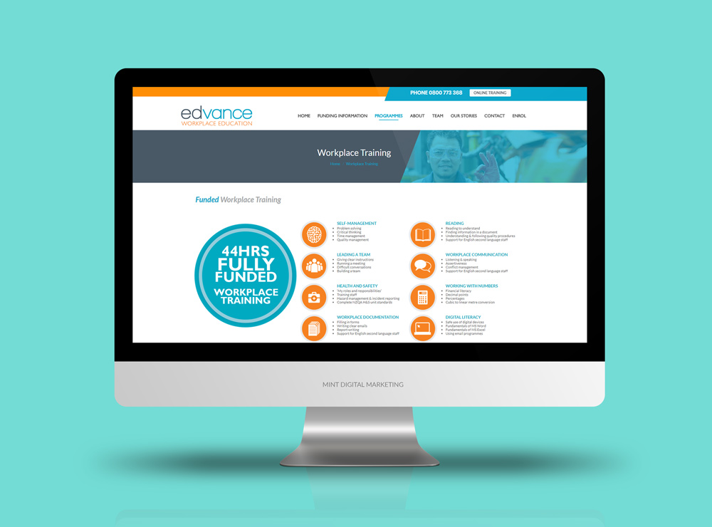 Edvance Workplace Training - Website Design and Development