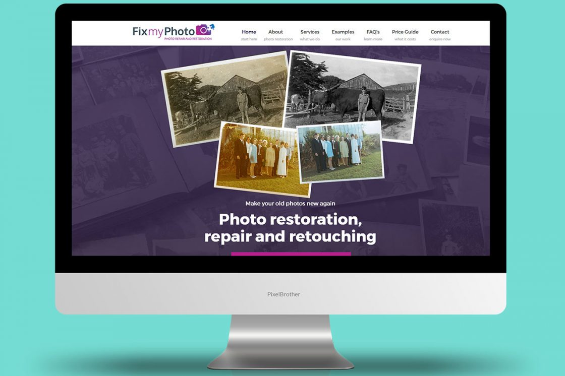 fix my photo photo restoration, repair and retouching, website development.